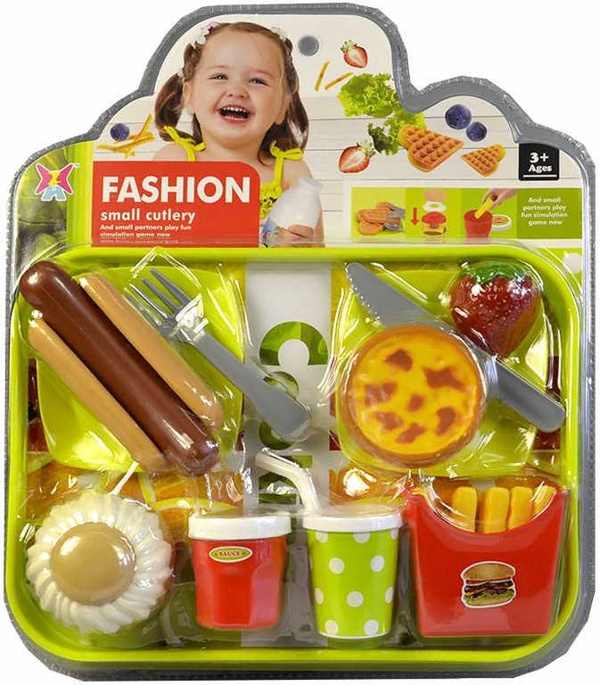 Kuchyňská souprava fast food dětské makety potravin s příbory na kartě