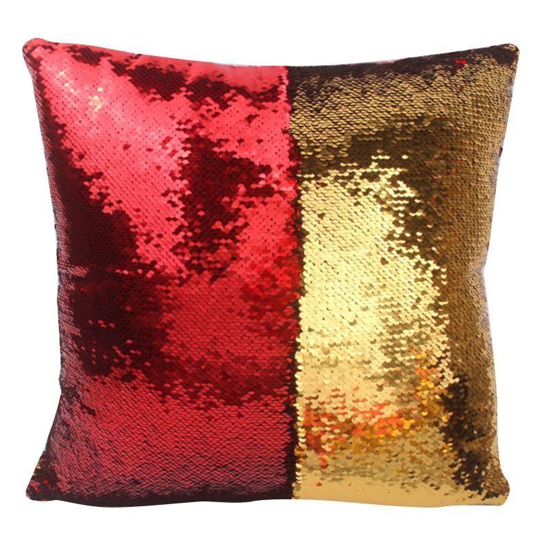 Kreativní flitrový potah na polštář - Červeno-zlatá