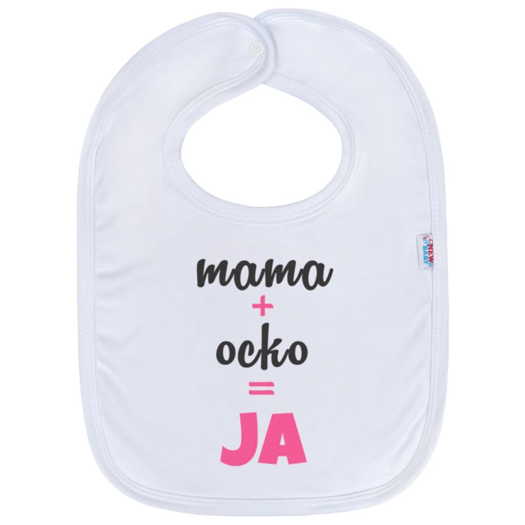 Kojenecký bavlněný bryndák New Baby mama+ocko=JA - růžová