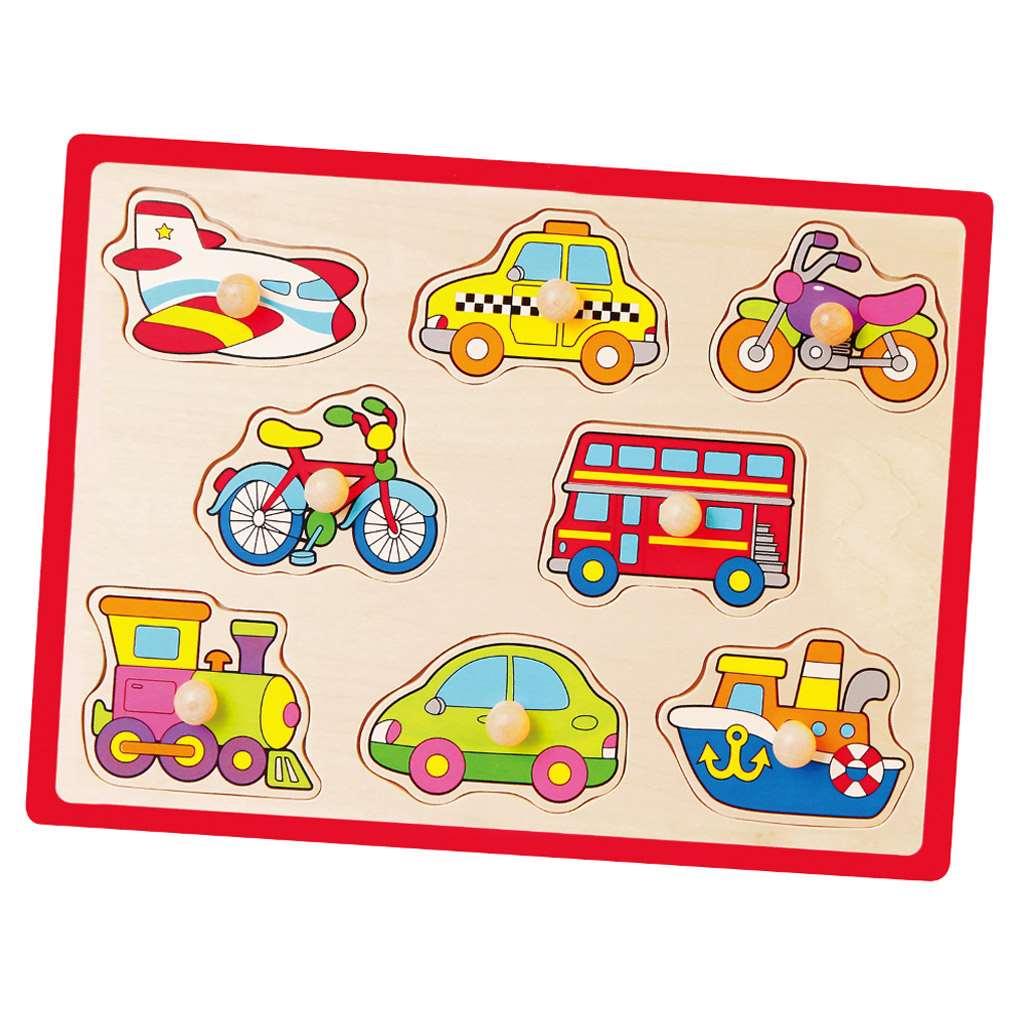 Dětské dřevěné puzzle s úchyty Viga Vozidla - multicolor