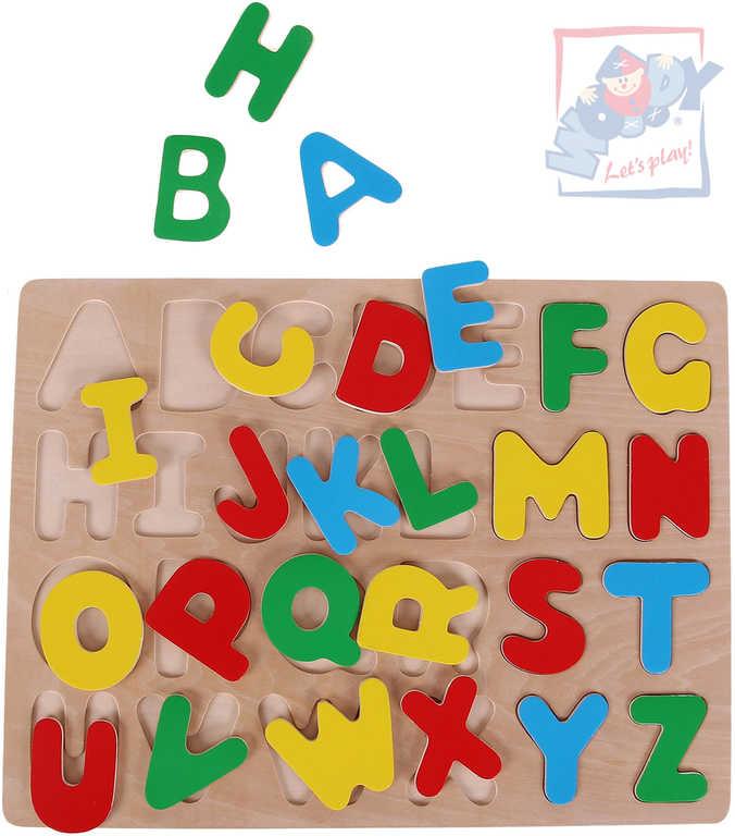 WOODY DŘEVO Puzzle vkládací na desce Abeceda