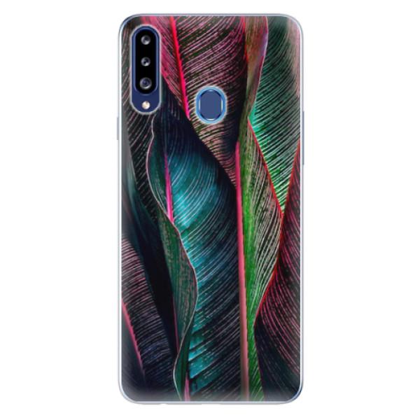 Odolné silikonové pouzdro iSaprio - Black Leaves - Samsung Galaxy A20s
