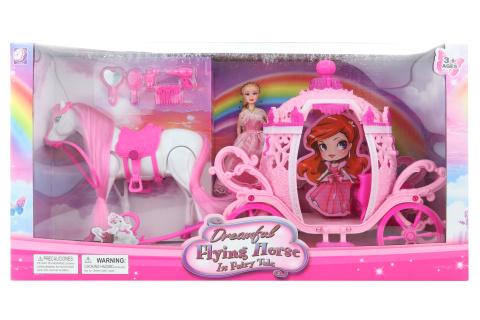 Kočár růžový pro panenky na baterie