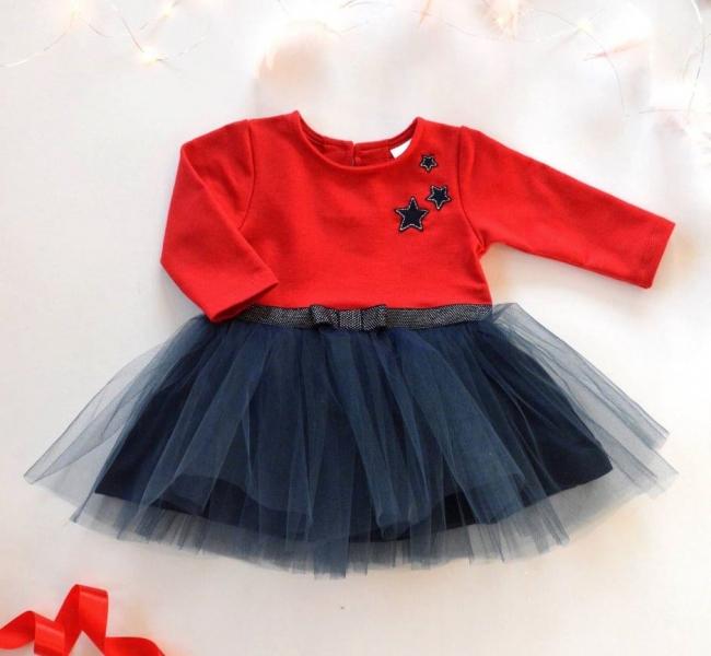 Dětské Tutu šatičky K-Baby, Hvězdičky - červená/tm. modrá, vel. 98 - 98 (24-36m)