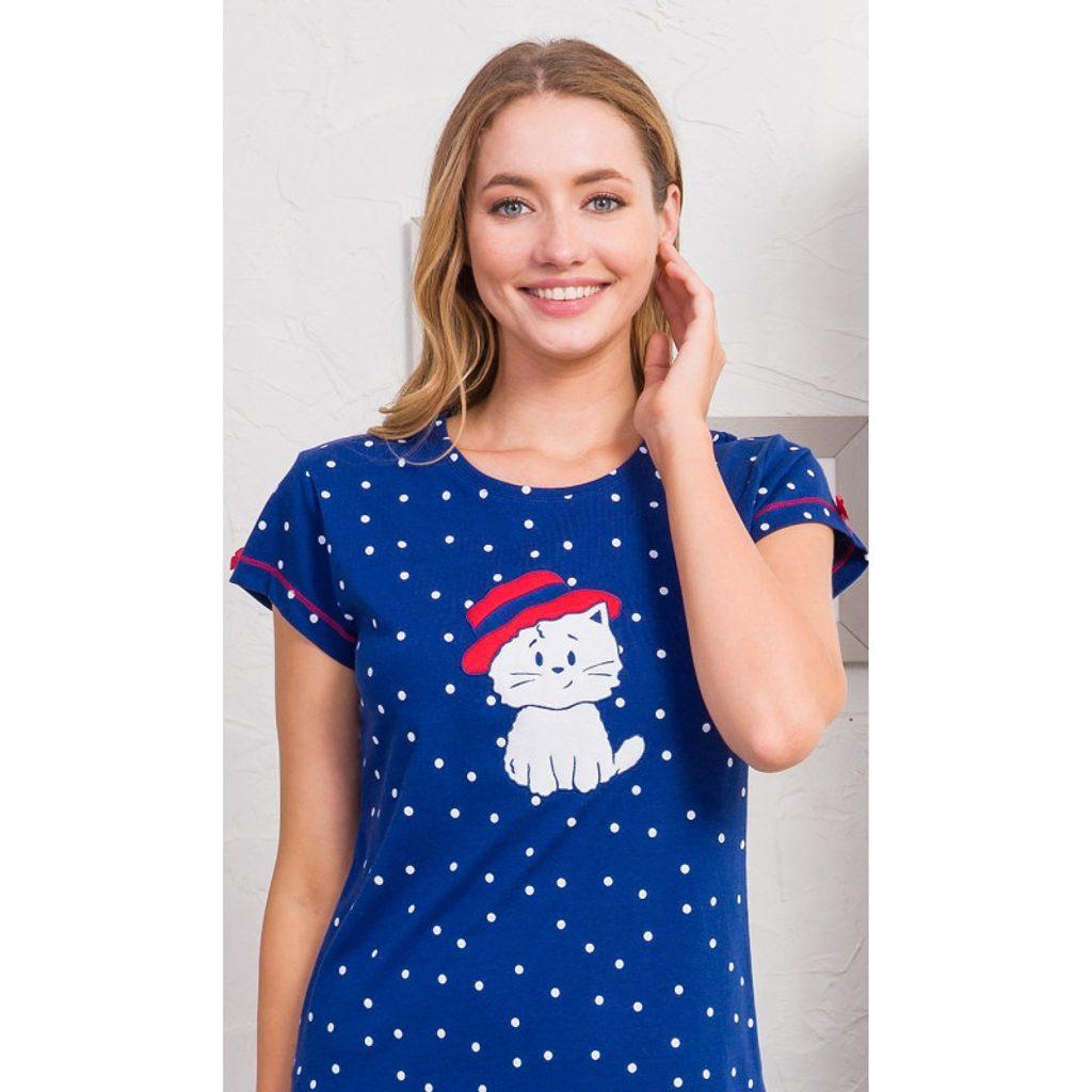Dámská noční košile s krátkým rukávem Kotě s kloboukem - tmavě modrá