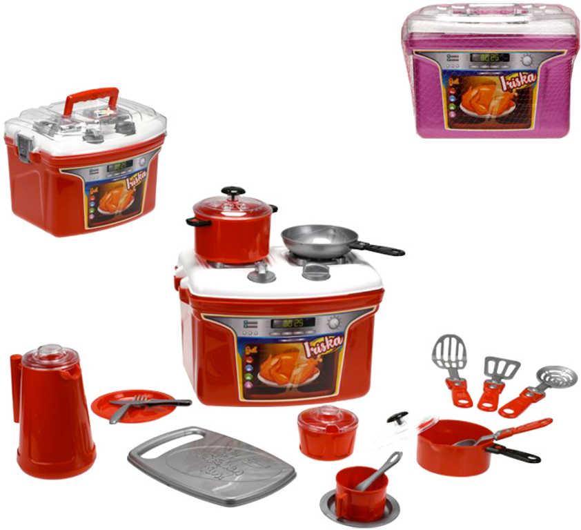 Iriska kuchyňský přenosný set sporák s nádobím a doplňky plast různé barvy