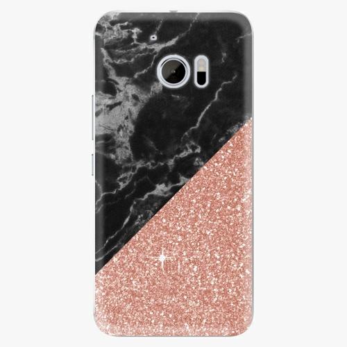 Plastový kryt iSaprio - Rose and Black Marble - HTC 10