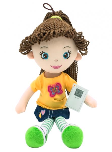 Hadrová panenka Markétka s hnědými vlásky, Tulilo, 35 cm - jeans
