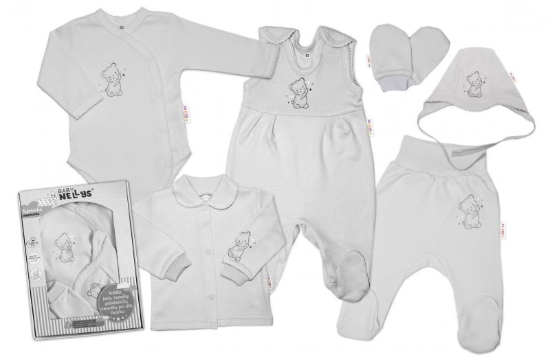 baby-nellys-velka-sada-do-porodnice-teddy-6-ti-dilna-v-krabicce-seda-vel-62-62-2-3m