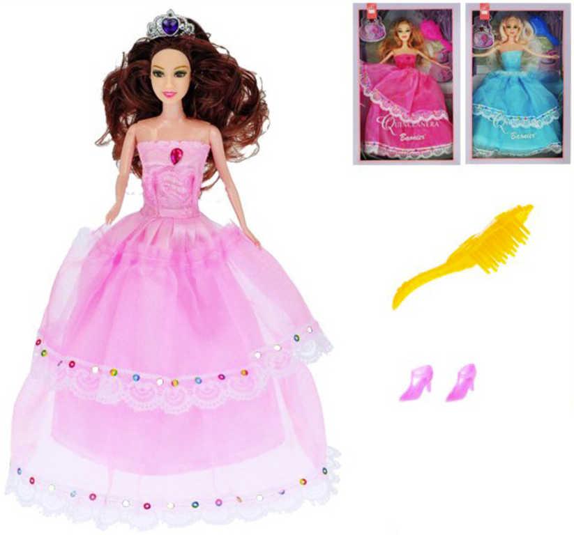 Panenka princezna kloubová 29cm dlouhé šaty set s doplňky - 3 druhy