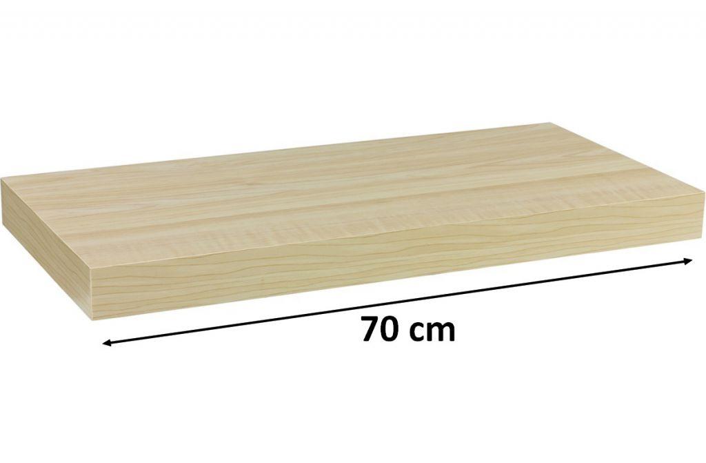 Nástěnná police STILISTA VOLATO - světlé dřevo 70 cm