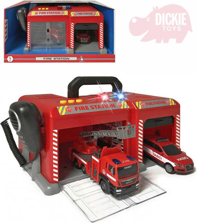 DICKIE Stanice hasičská set 2 auta s mikrofonem na baterie Světlo Zvuk