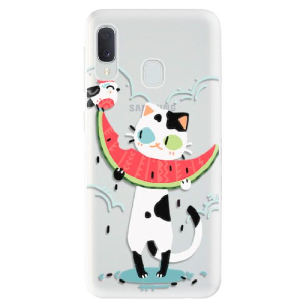 Odolné silikonové pouzdro iSaprio - Cat with melon - Samsung Galaxy A20e