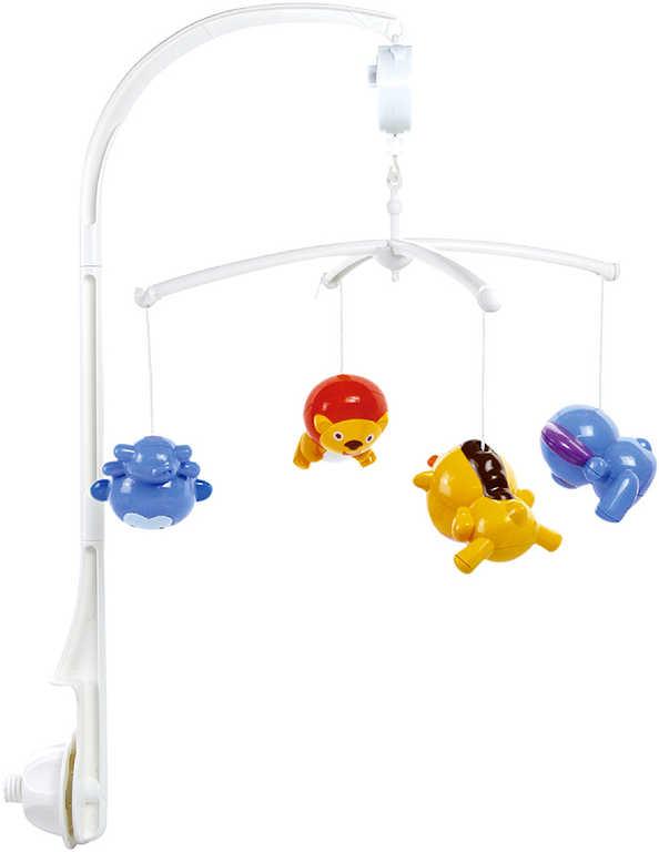 Baby kolotoč na postýlku s melodiemi na natažení se 4 zvířátky pro miminko Zvuk