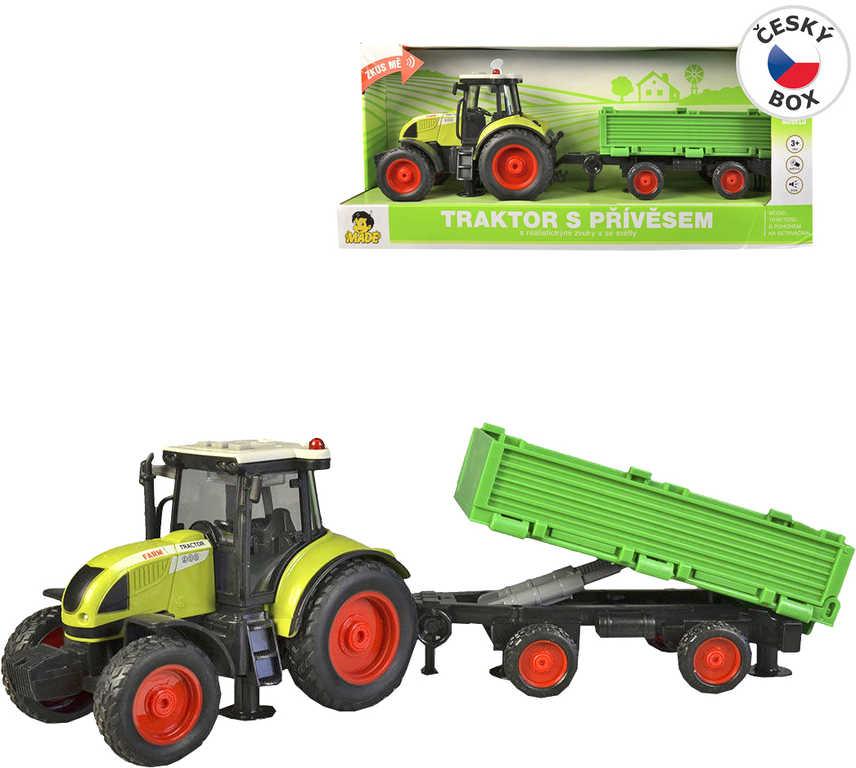 Traktor set s vlečkou 40cm na setrvačník na baterie Světlo Zvuk plast