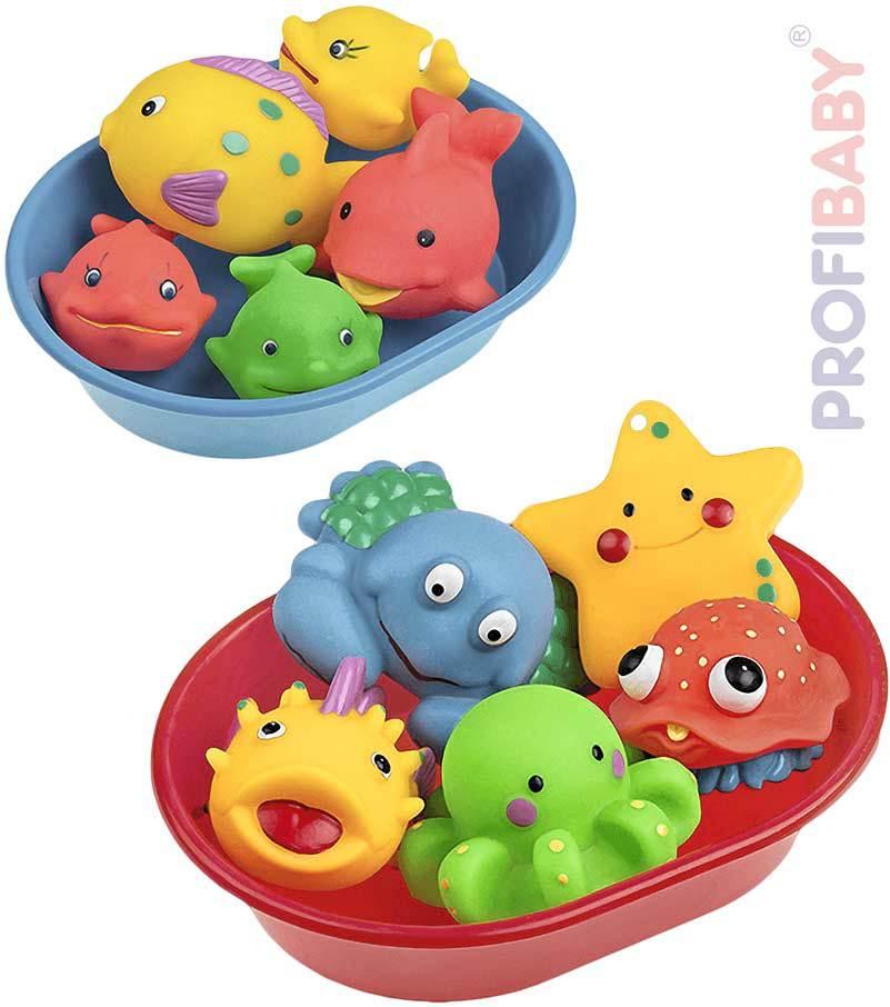 PROFIBABY Baby set vanička + 5 mořských zvířátek do vody 3 druhy pro miminko