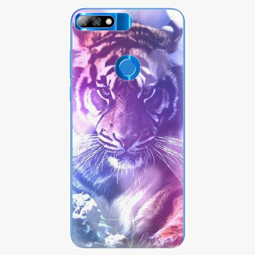 Silikonové pouzdro iSaprio - Purple Tiger - Huawei Y7 Prime 2018