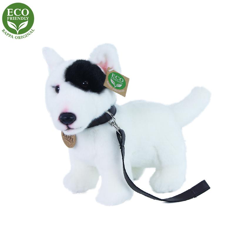 Plyšový pes anglický bulteriér s vodítkem stojící 23 cm ECO-FRIENDLY