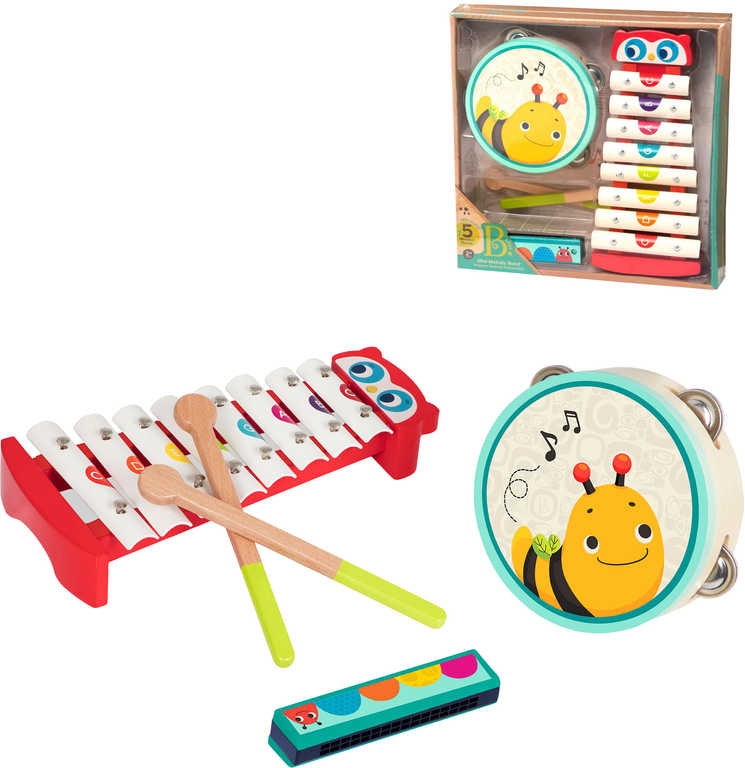 B-TOYS DŘEVO Baby dětské hudební nástroje set 3ks *DŘEVĚNÉ HRAČKY*
