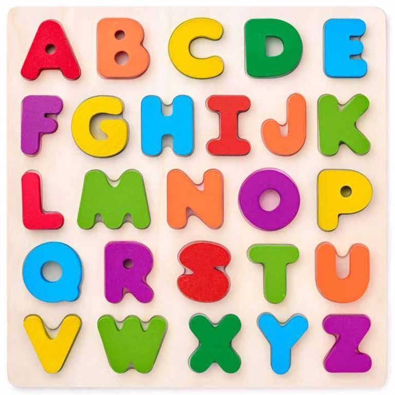 WOODY DŘEVO Puzzle vkládací písmena na desce *DŘEVĚNÉ HRAČKY*