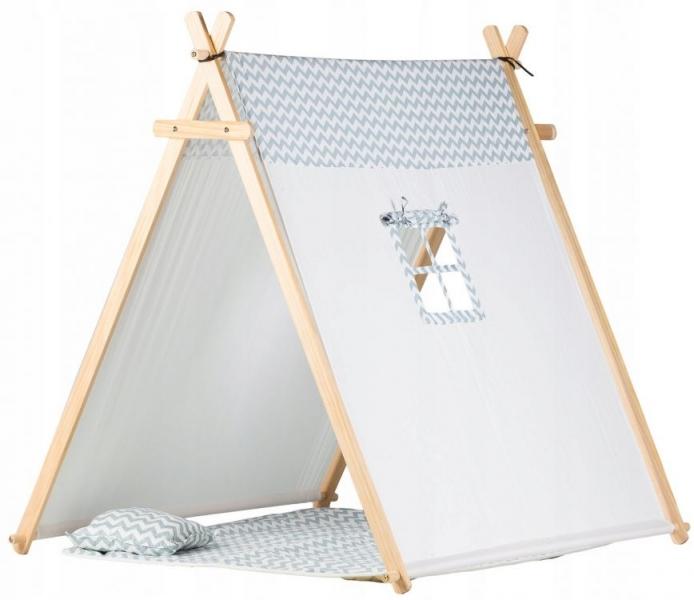 Stan pro děti teepee, týpí s výbavou - šedý s zig zag