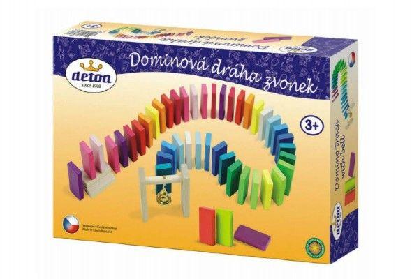 Dominová dráha se zvonečkem dřevo 95 ks v krabici