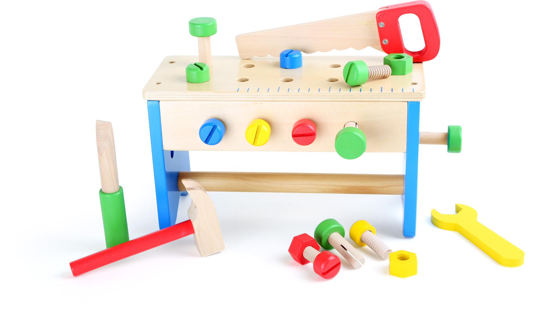 Small Foot Dřevěný pracovní stůl a box s nářadím 2v1