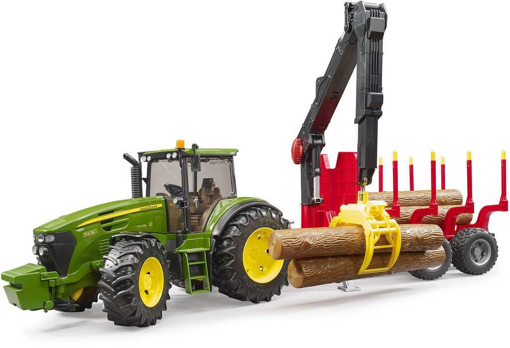 BRUDER 03054 (3054) Set traktor John Deere 7930 + přepravník na dřevo s kládami