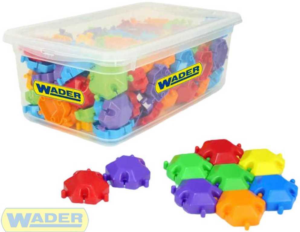 WADER Puzzle kostky set STAVEBNICE barevná 120ks v boxu