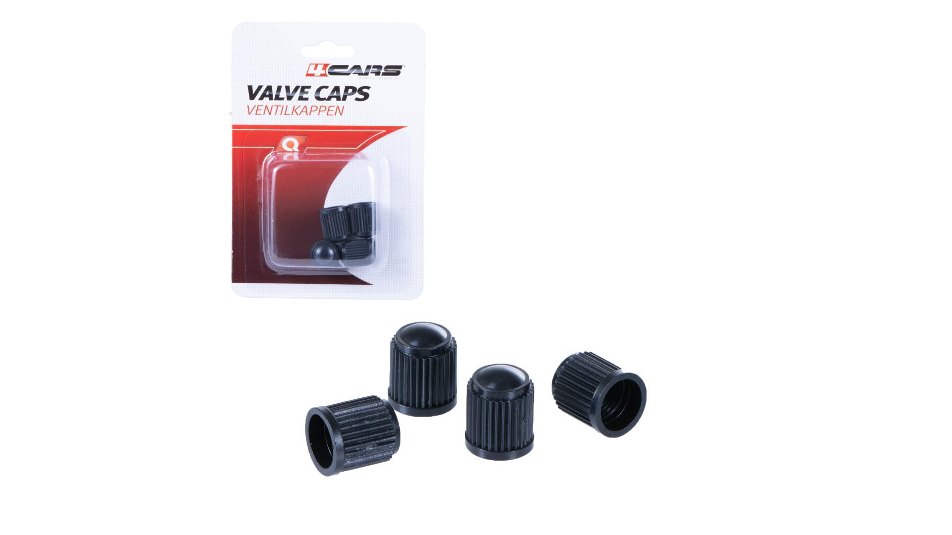 4CARS Krytky ventilov černé, 4ks