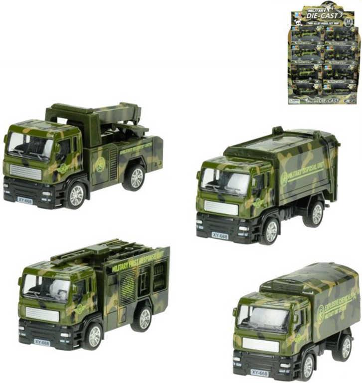 Auto nákladní vojenské pracovní 1:55 kovové 12 cm různé druhy