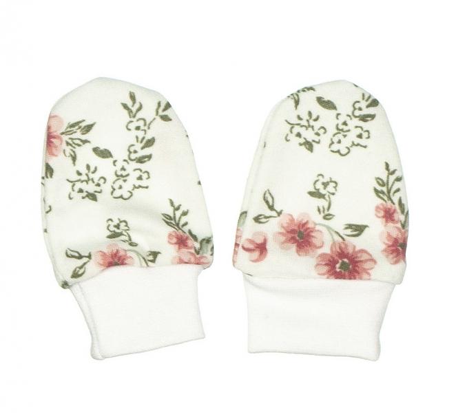 MBaby Kojenecké rukavičky ROSE, pudrová-bílá - 0/3měsíců