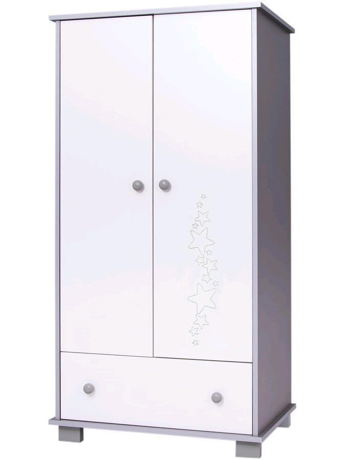 Dětská skříň Drewex Hvězdičky šedá - bílá