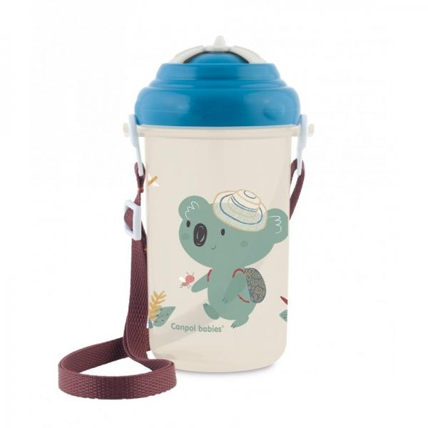 Sportovní láhev se slámkou Adventure - Koala modrá