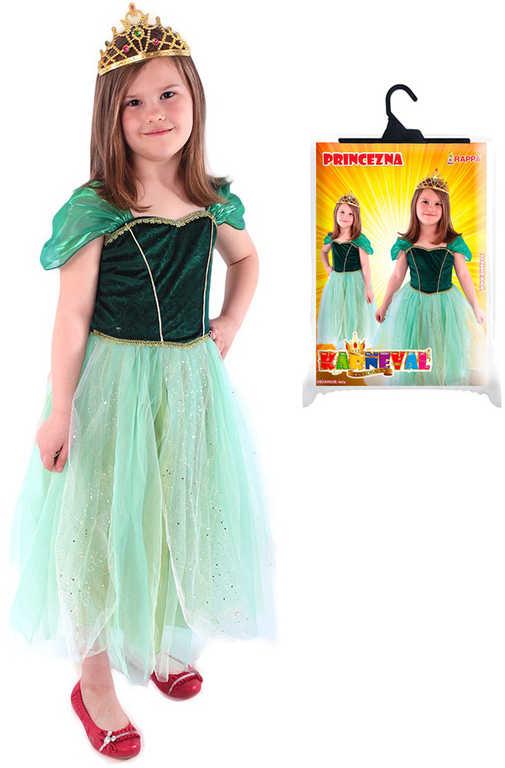 KARNEVAL Šaty zimní princezna Anička zelený vel.L (128-156cm) 8-12 let KOSTÝM
