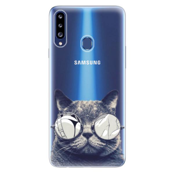 Odolné silikonové pouzdro iSaprio - Crazy Cat 01 - Samsung Galaxy A20s