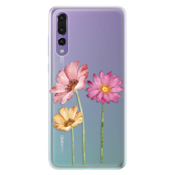 Silikonové pouzdro iSaprio - Three Flowers - Huawei P20 Pro