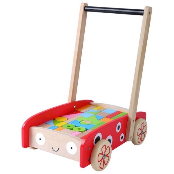 Eco toys Dřevěný vozík s dřevěnými kostkami - Beruška