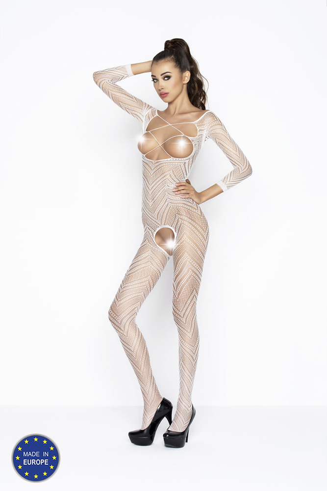 Síťkovaný catsuit s krajkovým vzorem - bílý BS040-univerzální