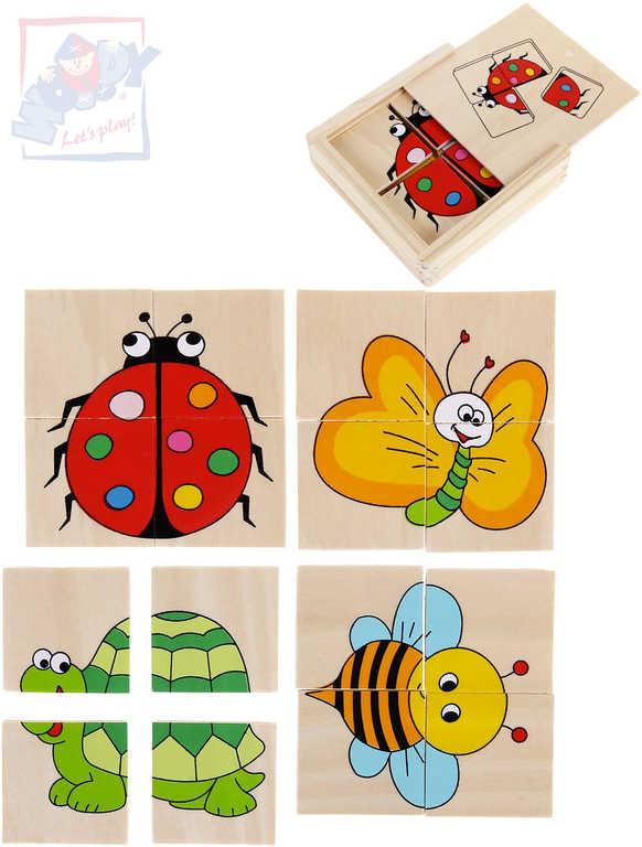 WOODY DŘEVO Baby minipuzzle Beruška 4x4 dílky v krabičce 4v1 pro miminko