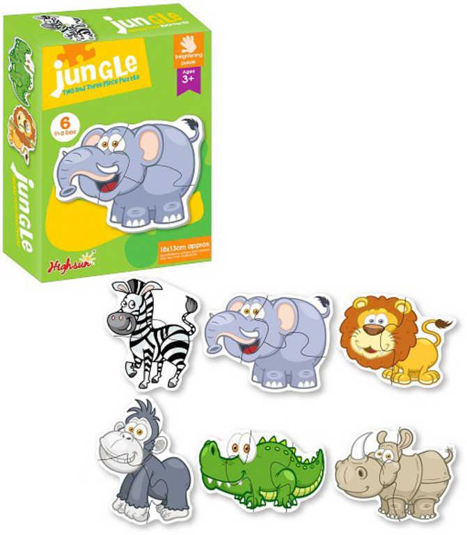Baby puzzle velké dílky 15ks africká zvířata 6v1 skládačka pro miminko