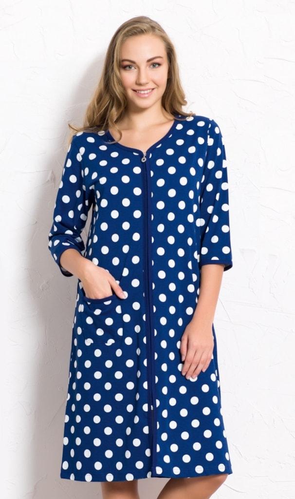 Dámské domácí šaty s tříčtvrtečním rukávem Puntíky - tmavě modrá - M