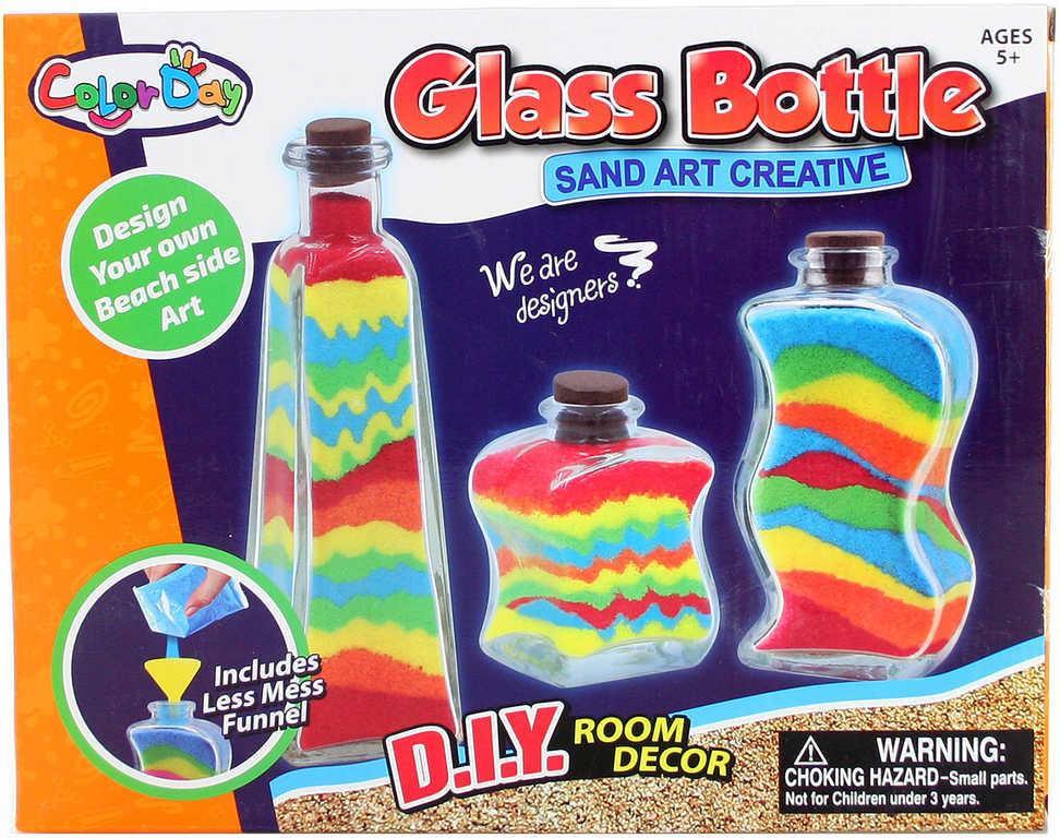 Výroba z písku dekorační lahvičky kreativní set s barevným pískem a nástroji