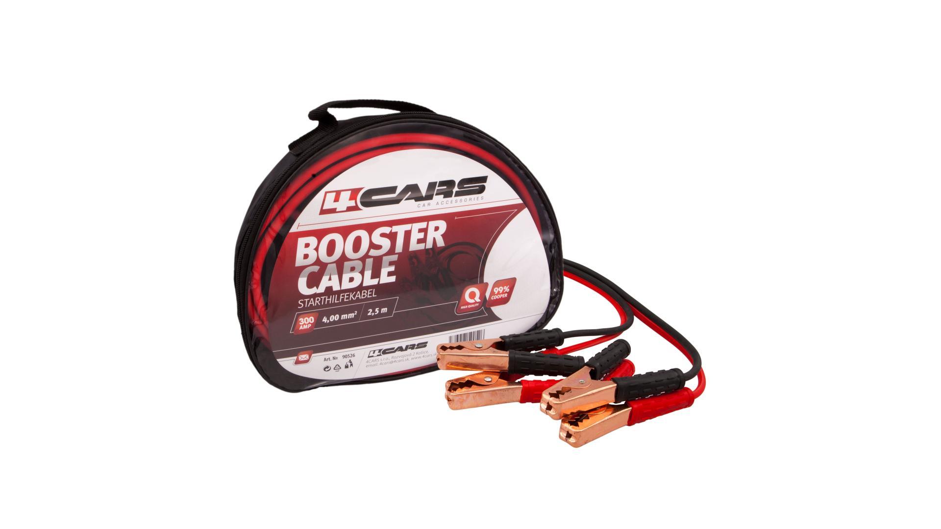 4CARS Startovací kabely 300amp, 4.0mm², 2.5m