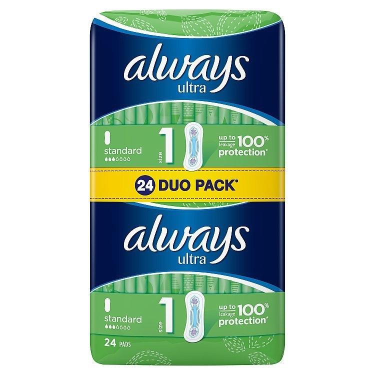 Ultra Standard hygienické vložky s křidélky a jemnou vůní 24 ks/bal.