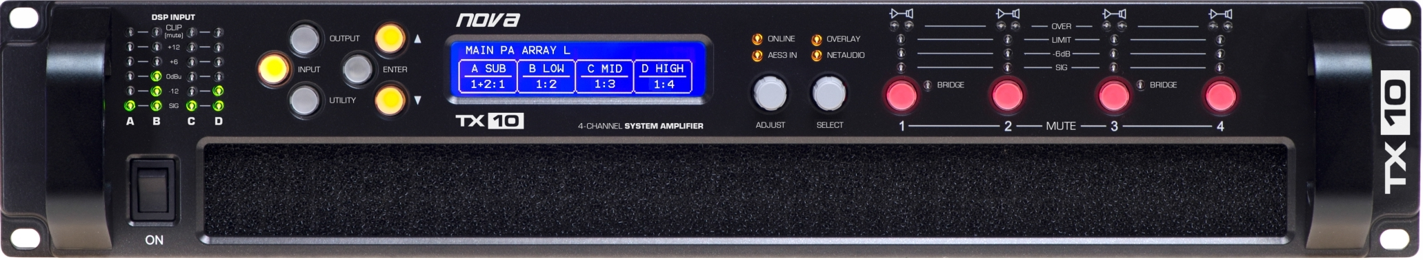 Nova TX10 D, 4-kanálový zesilovač, 10kW, DSP, DANTE FIR
