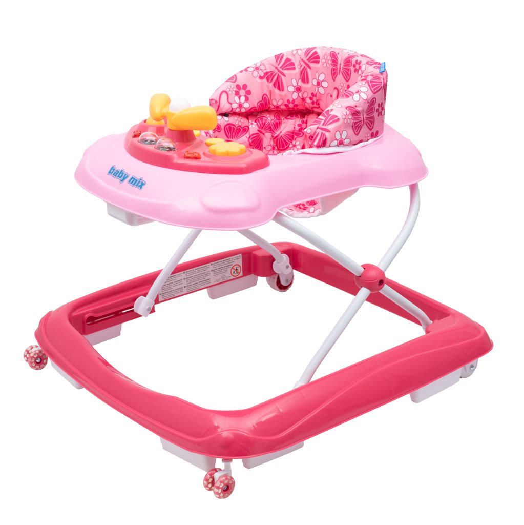 Dětské chodítko Baby Mix s volantem a silikonovými kolečky - růžová