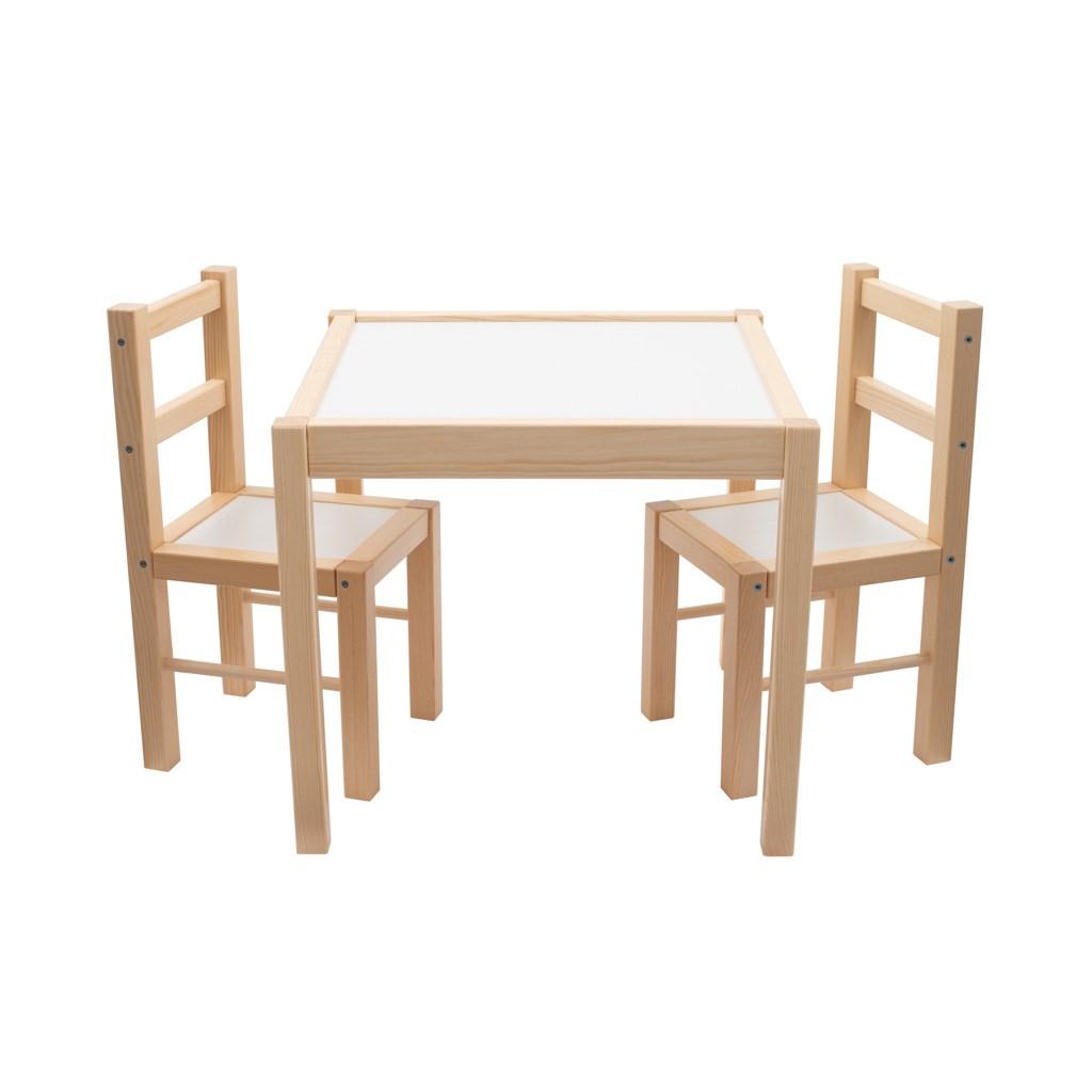 Dětský dřevěný stůl s židličkami New Baby PRIMA - přírodní