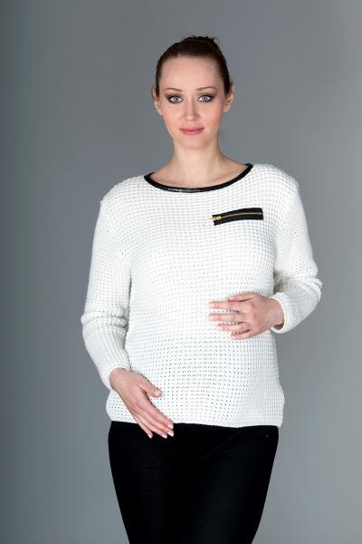 Těhotenský svetřík Molly s ozdobným lemem - bílá