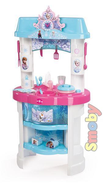 SMOBY Plastová DĚTSKÁ KUCHYŇKA Ledové Království (Frozen) s nádobím a doplňky
